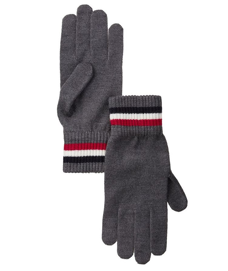 Tri-Colour Striped Logo Wool Gloves image 0