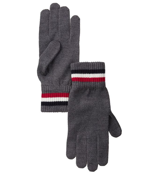 Tri-Colour Striped Logo Wool Gloves picture 1