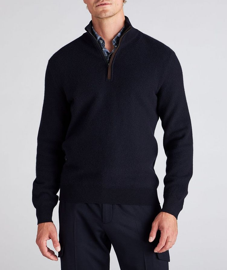 Half-Zip Premium Cashmere Knit Sweater image 1