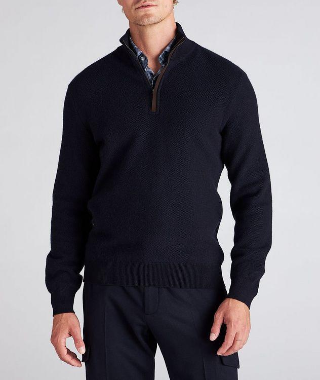 Half-Zip Premium Cashmere Knit Sweater picture 2