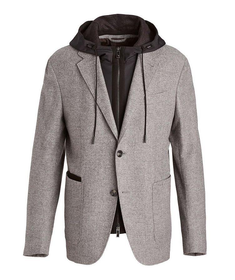 Veston en laine et cachemire à plastron détachable image 0