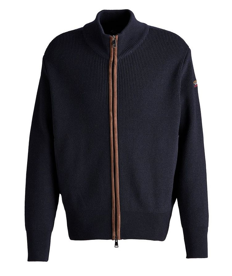 Leather-Trimmed Wool Cardigan image 0