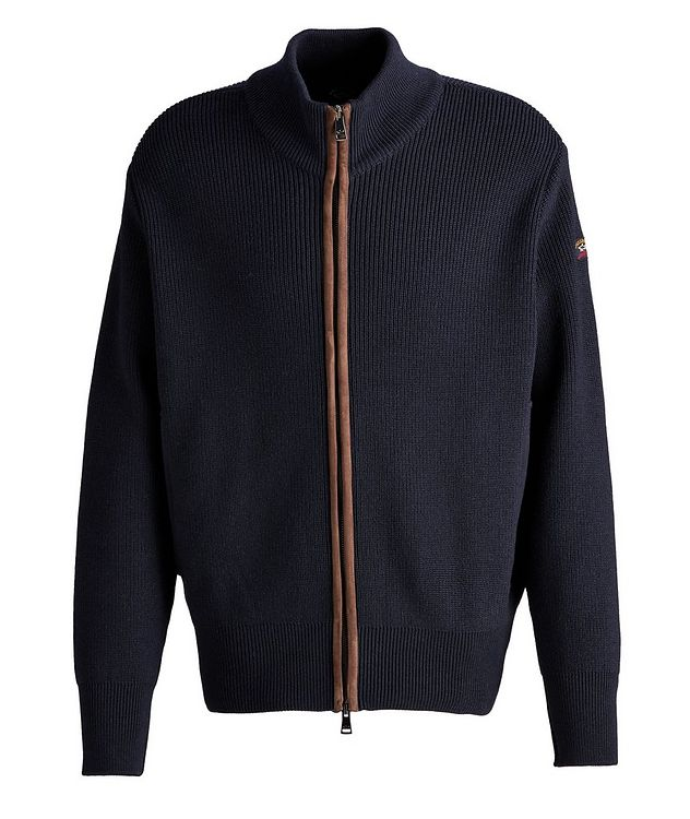 Leather-Trimmed Wool Cardigan picture 1