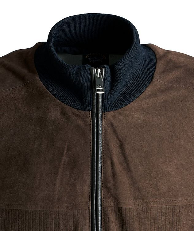 Water-Repellent Hybrid Knit Leather Jacket picture 3