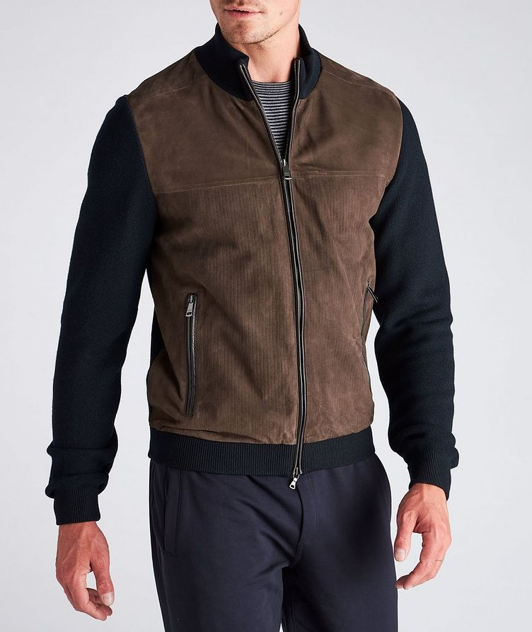 Water-Repellent Hybrid Knit Leather Jacket image 3