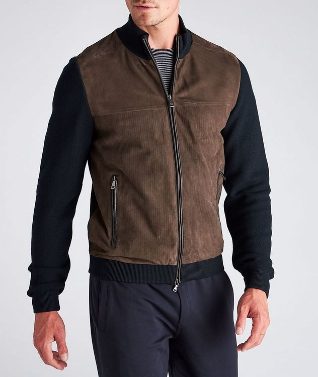 Water-Repellent Hybrid Knit Leather Jacket picture 4