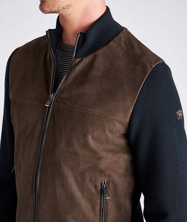 Water-Repellent Hybrid Knit Leather Jacket picture 6