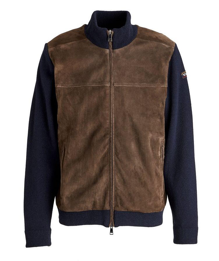Water-Repellent Hybrid Knit Leather Jacket image 0