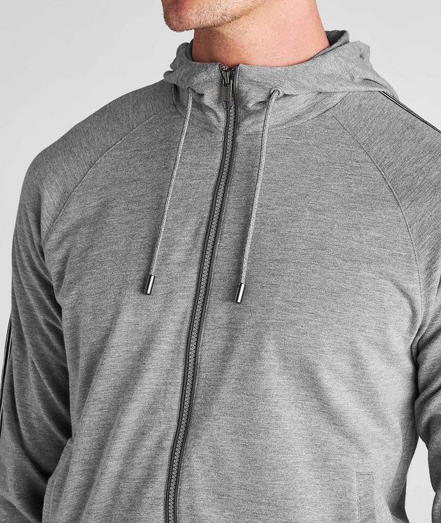 Zip-Up Stretch-Cotton-Blend Hoodie picture 4