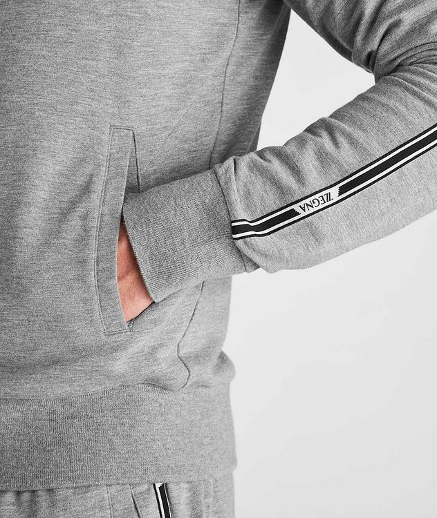 Zip-Up Stretch-Cotton-Blend Hoodie picture 5