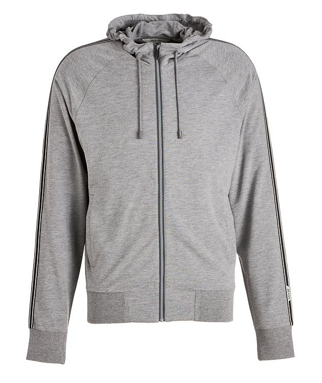 Zip-Up Stretch-Cotton-Blend Hoodie picture 1