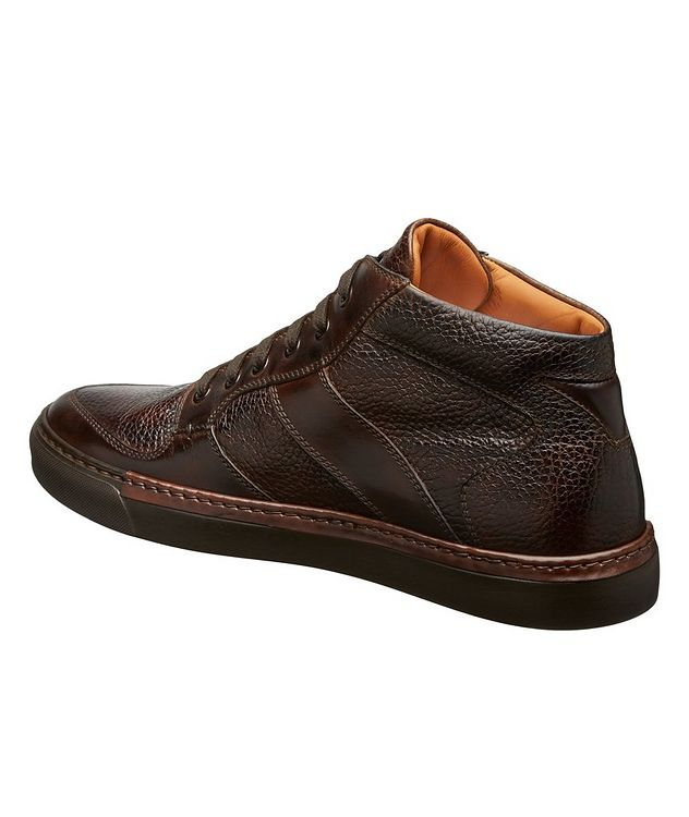Burnished Grain Leather Sneakers picture 2