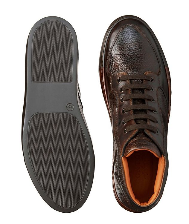Burnished Grain Leather Sneakers picture 3