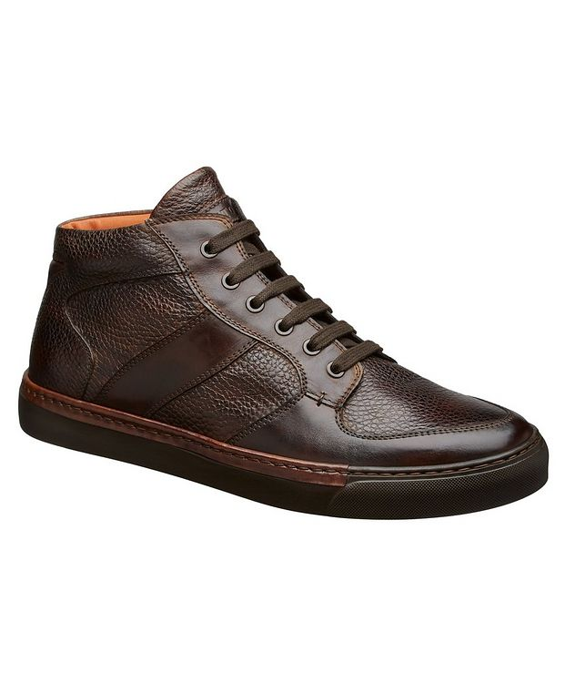 Burnished Grain Leather Sneakers picture 1
