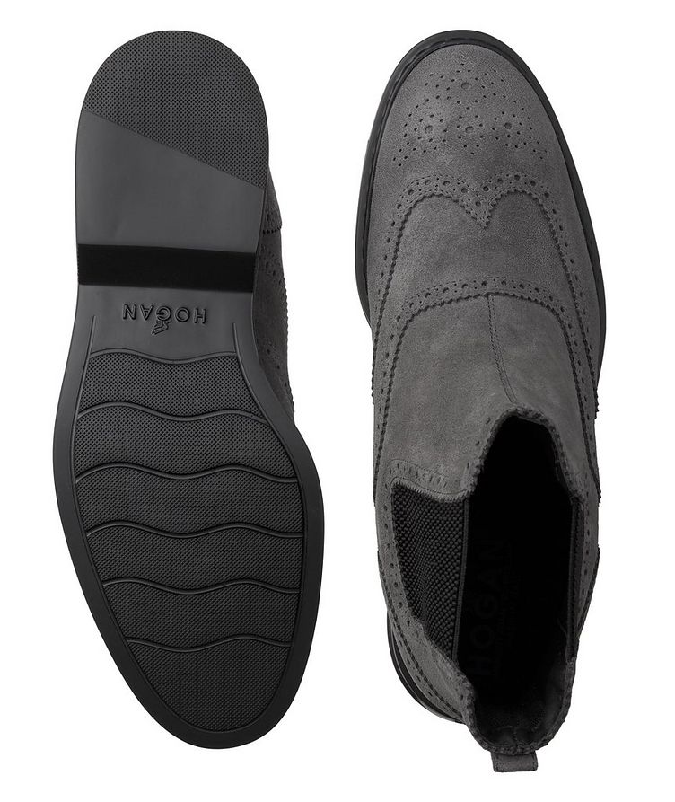 Suede Wingtip Chelsea Boots image 2