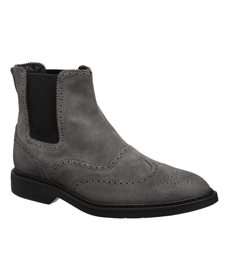 Suede Wingtip Chelsea Boots image 0