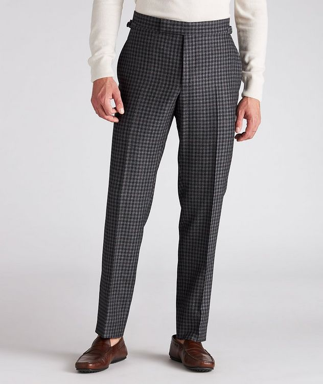 Checked Wool-Silk Dress Pants picture 2