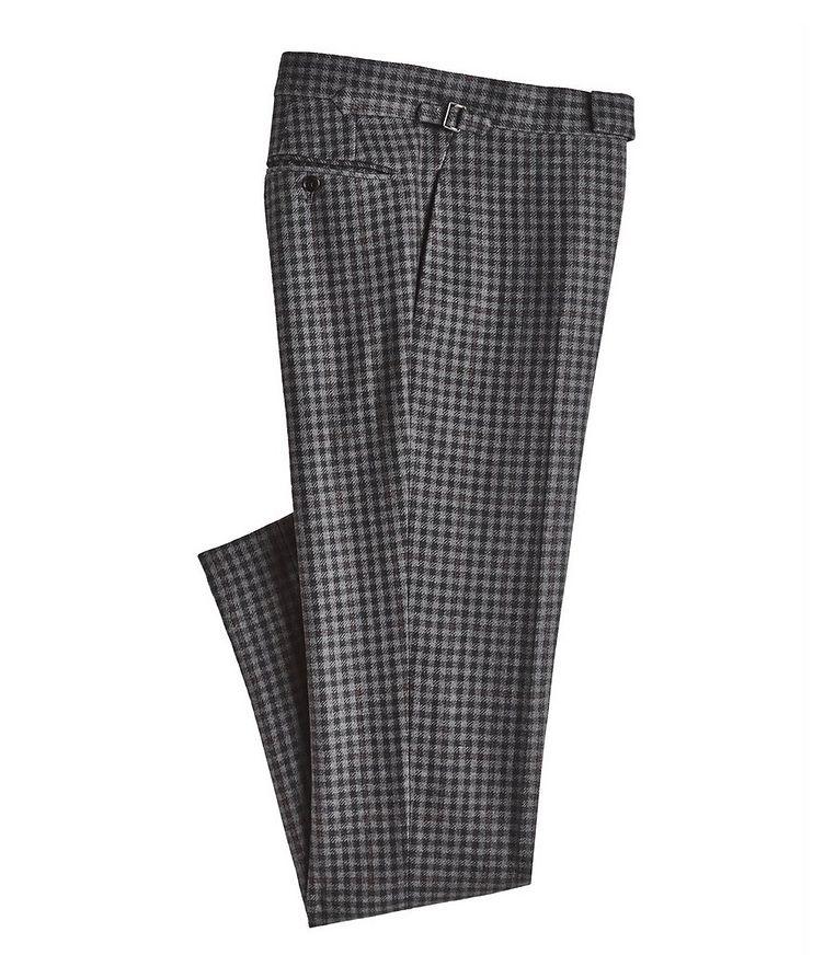 Checked Wool-Silk Dress Pants image 0