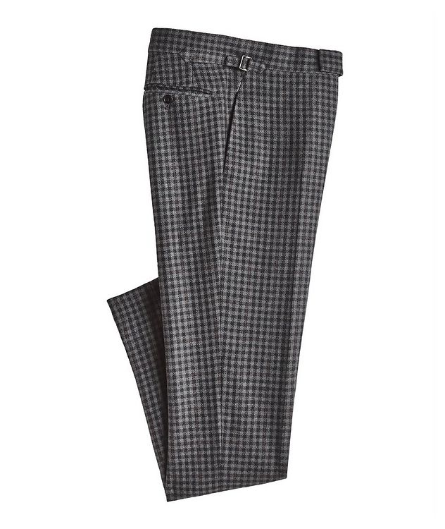 Checked Wool-Silk Dress Pants picture 1
