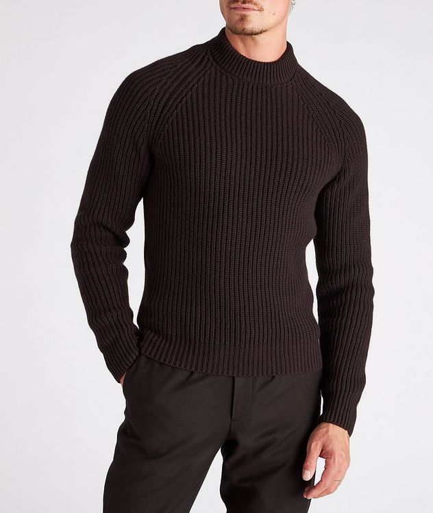 Ribbed Cashmere Mock Neck Sweater  picture 2