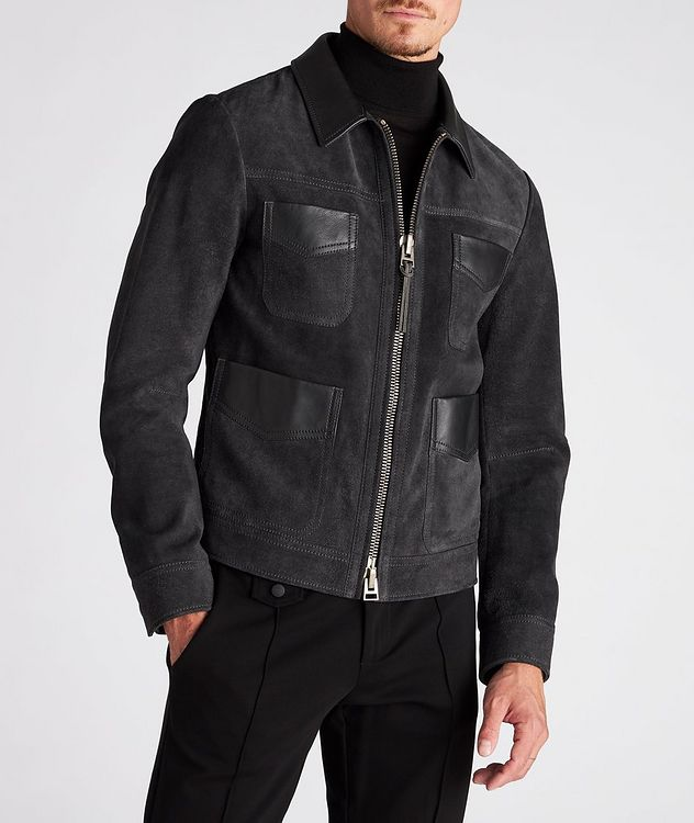 Leather-Trimmed Suede Field Jacket picture 2