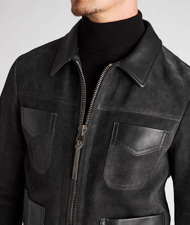Leather-Trimmed Suede Field Jacket picture 4