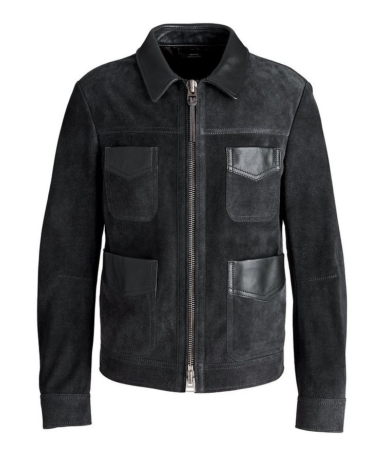 Leather-Trimmed Suede Field Jacket image 0