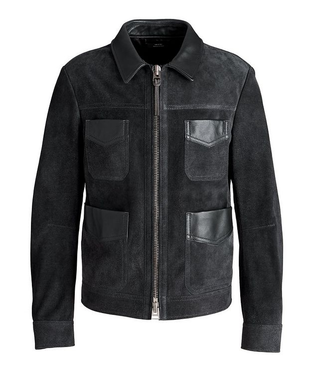 Leather-Trimmed Suede Field Jacket picture 1
