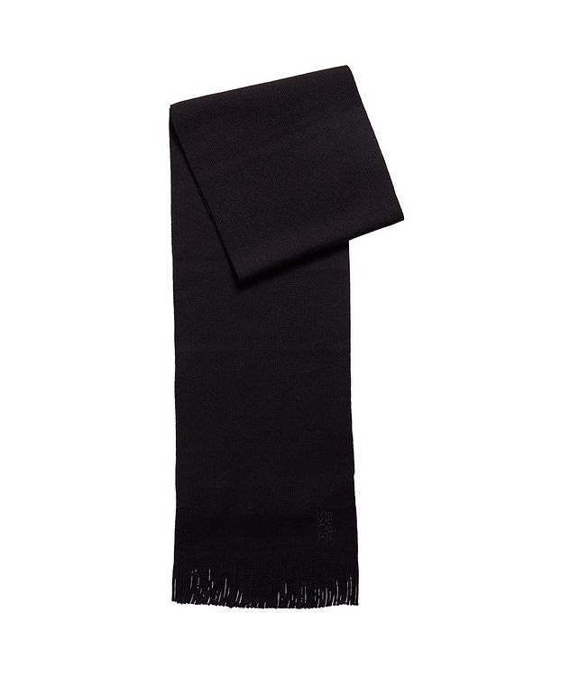 Embroidered Logo Wool Scarf picture 1