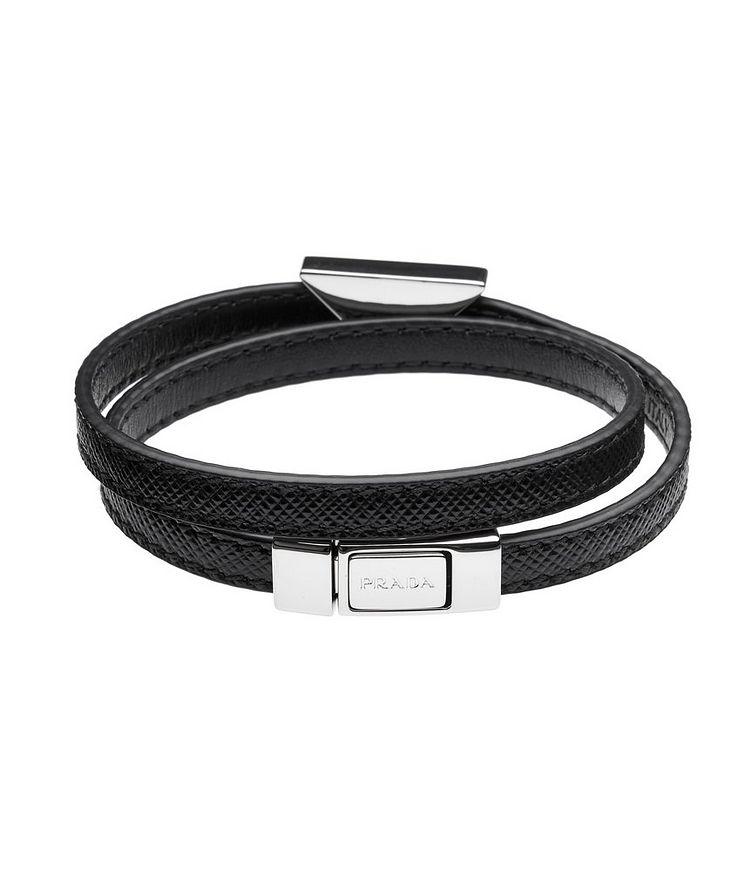 Triangle Logo Saffiano Leather Bracelet image 1