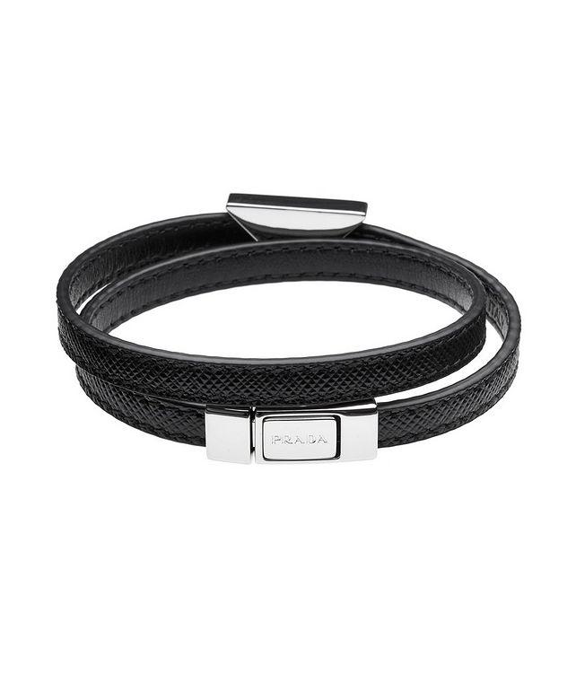 Triangle Logo Saffiano Leather Bracelet picture 2