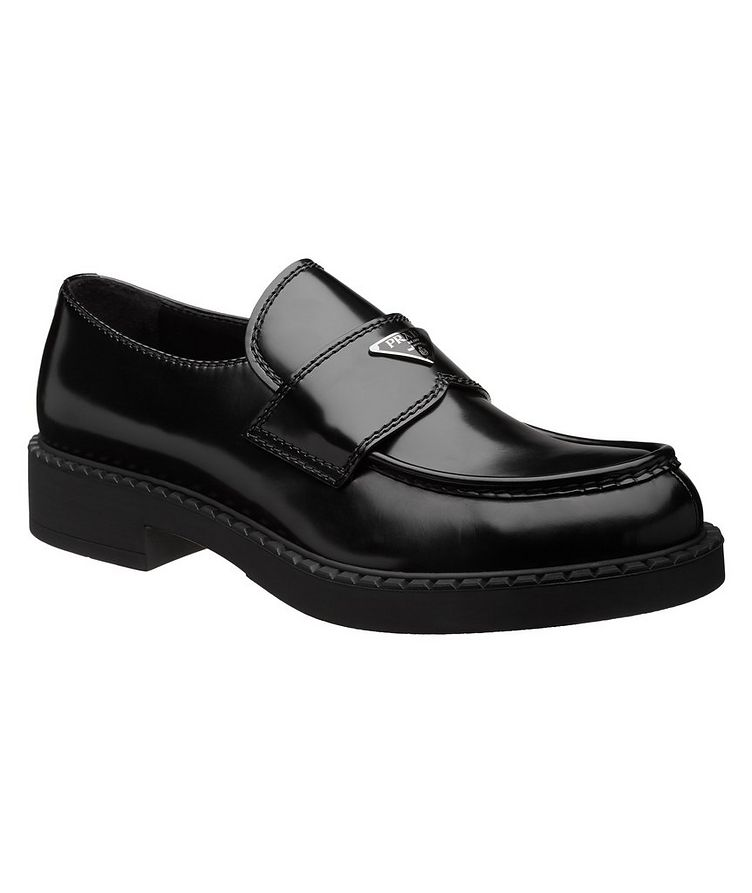 Logo Spazzolato Leather Loafers image 0