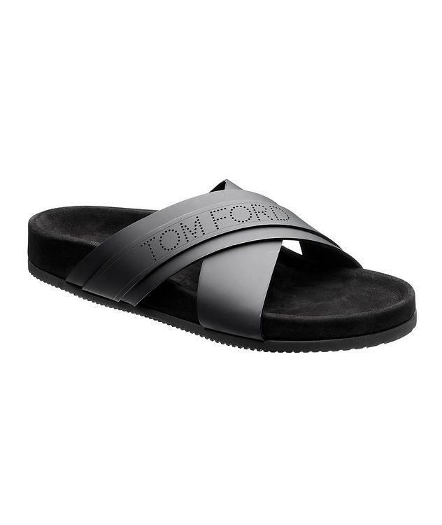 Criss-Cross Leather Slides picture 1