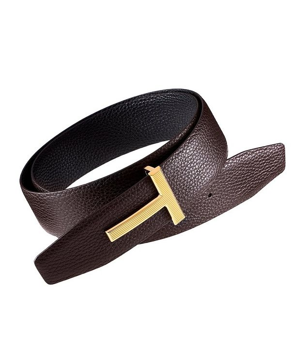 Reversible Ridged T-Buckle Leather Belt picture 1