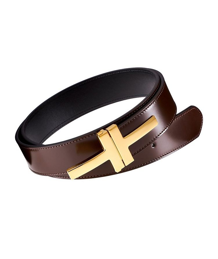 Double Clasp T-Buckle Leather Belt image 0