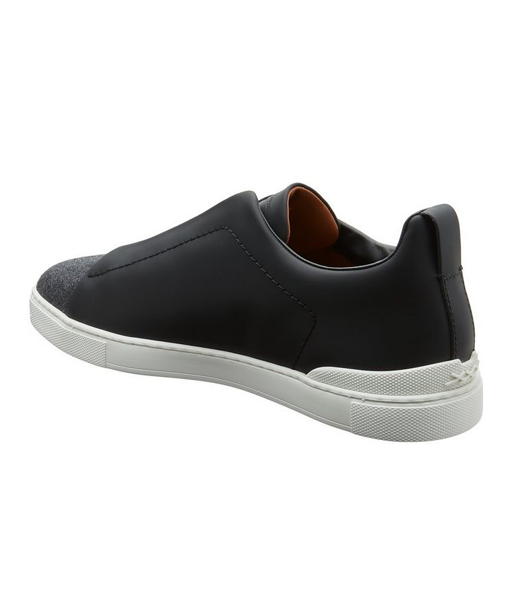 Triple Stitch Leather and Flannel Sneakers image 1