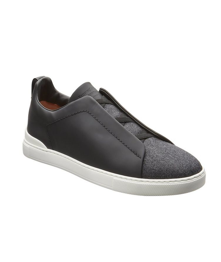 Triple Stitch Leather and Flannel Sneakers image 0