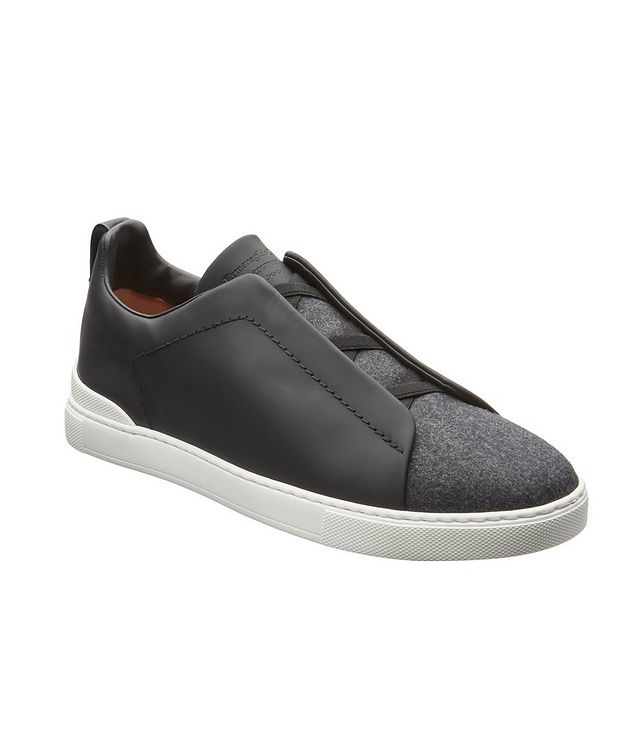 Triple Stitch Leather and Flannel Sneakers picture 1