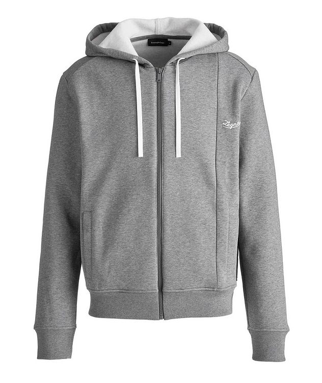 Logo Zip-Up Cotton-Blend Hoodie picture 1