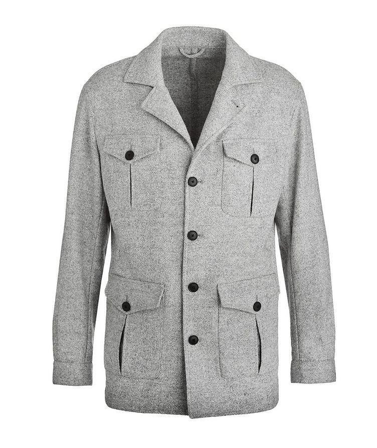 Slim Fit Herringbone Alpaca, Wool & Cotton Sports Jacket image 0