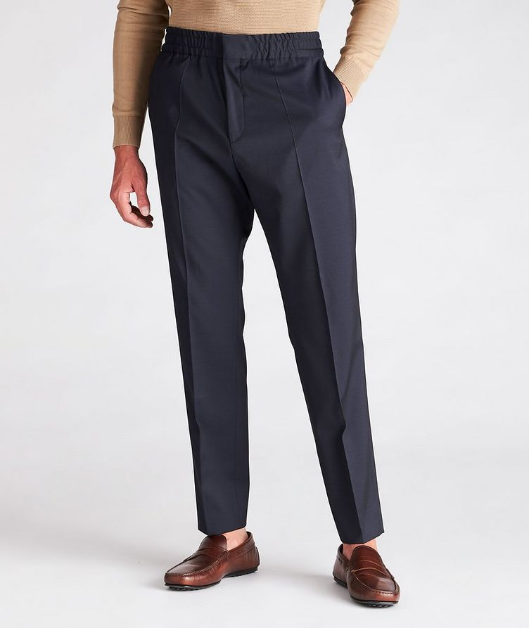 Slim Fit Drawstring Wool Dress Pants image 1