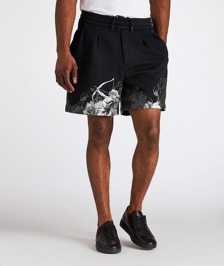 Surreal Print Cotton-Blend Board Shorts image 1