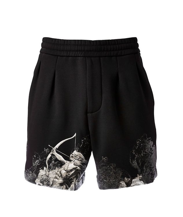 Surreal Print Cotton-Blend Board Shorts picture 1