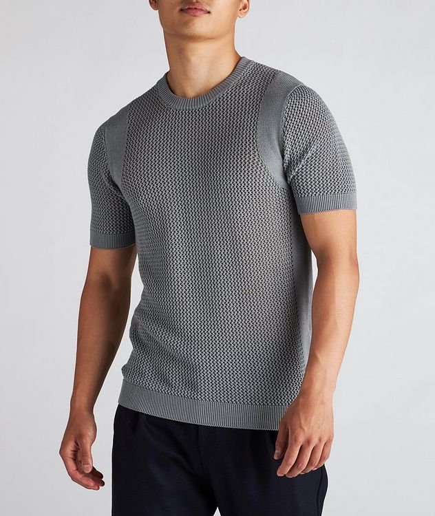 Braided Knit Wool-Cotton T-Shirt picture 2
