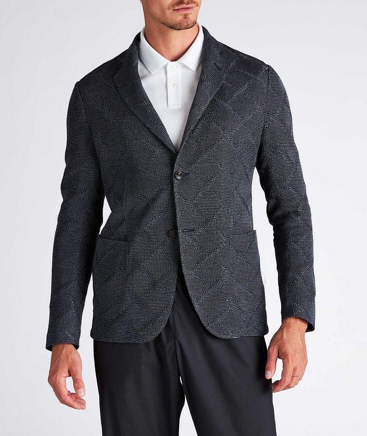 Diamond Jacquard Wool-Cotton Sports Jacket image 1