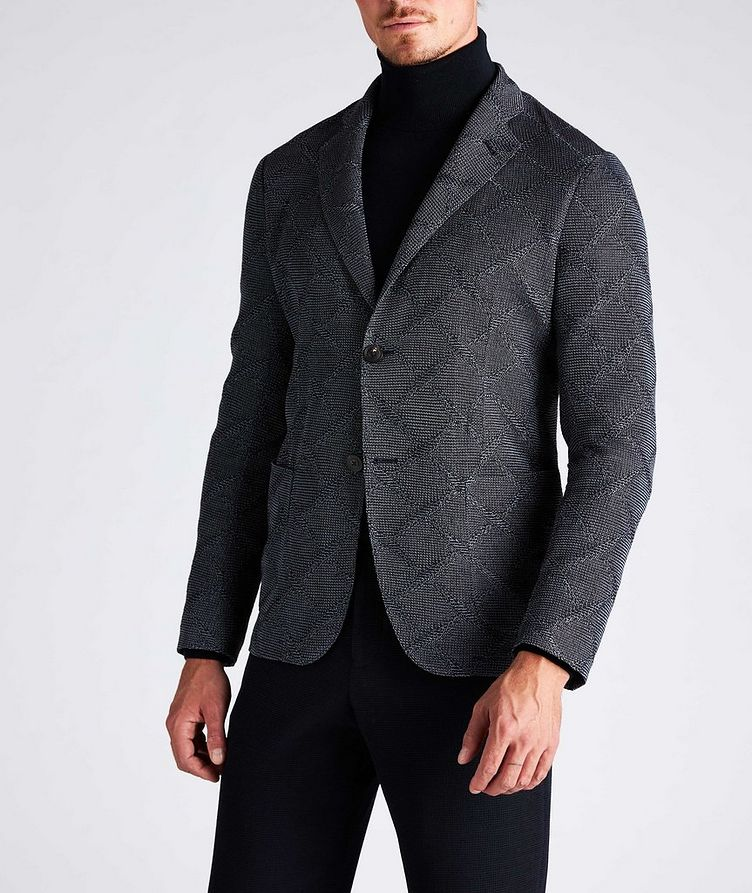 Diamond Jacquard Wool-Cotton Sports Jacket image 4