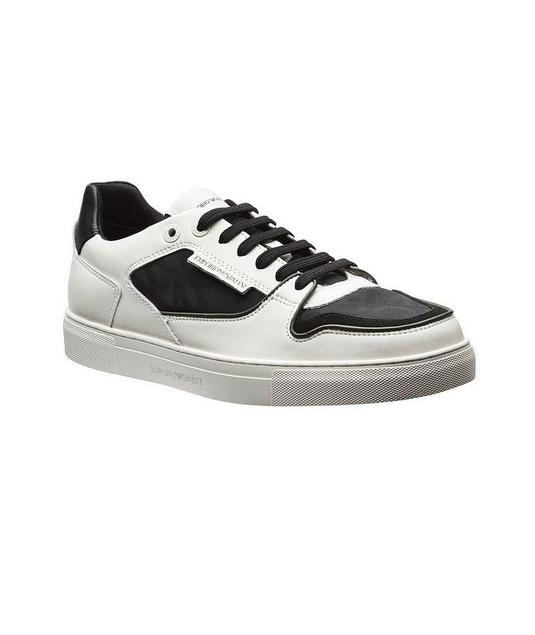 Monogrammed Multi-Texture Sneakers image 0