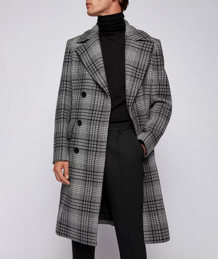Double Breasted Checked Overcoat image 3