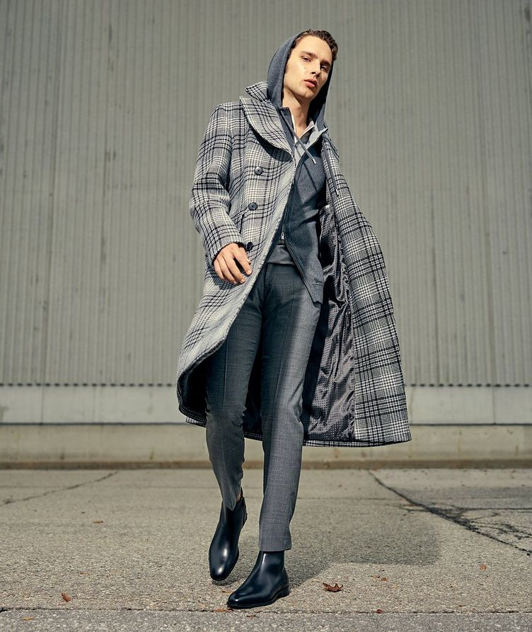 Double Breasted Checked Overcoat image 5