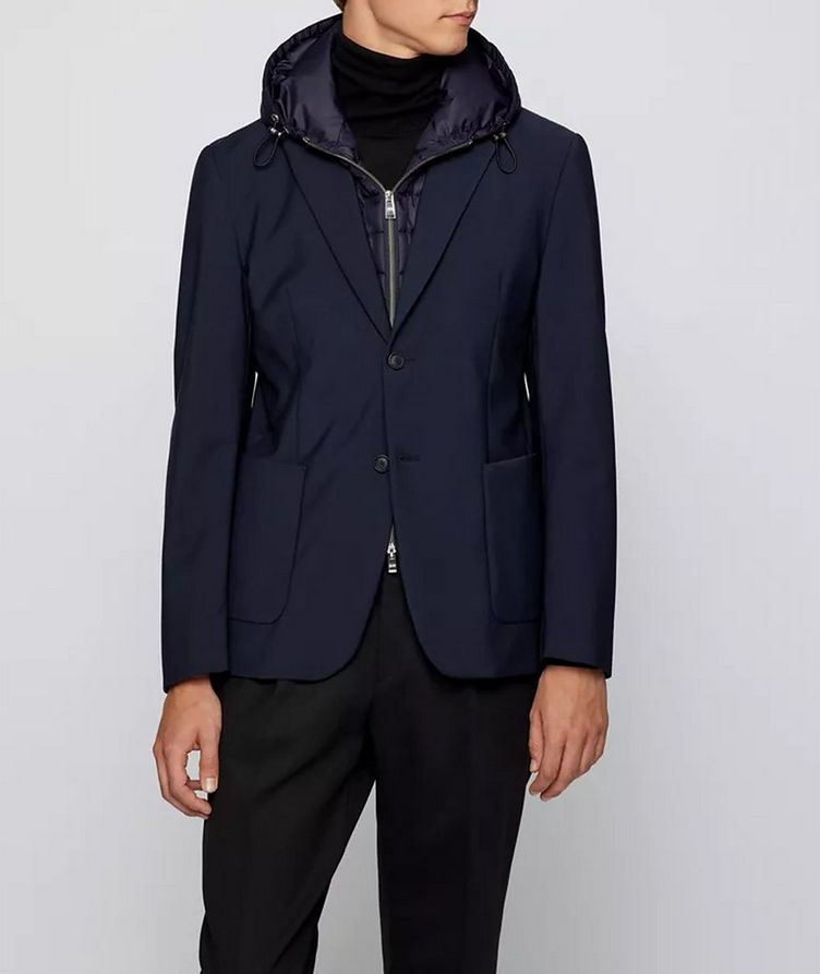 Hooded Padded Wool-Blend Sports Jacket image 1
